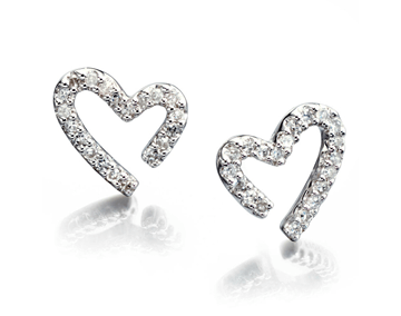 Diamond Set Heart Earrings