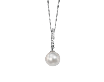 9ct White Gold Pearl And Diamond Pendant
