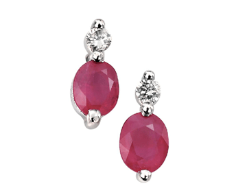 9ct White Gold Ruby And Diamond Earrings