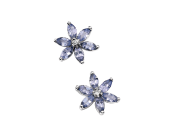 9ct White Gold Tanzanite And Diamond Earrings