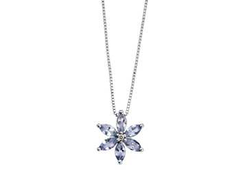 9ct White Gold Tanzanite And Diamond Pendant