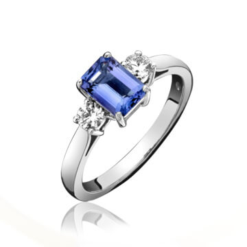 Tanzanite & Diamond 3 Stone Ring
