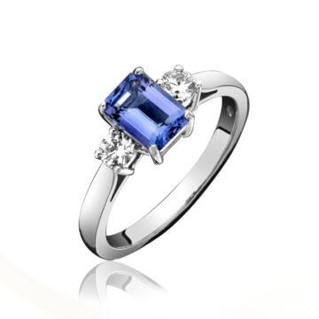 Tanzanite & Diamond 3 Stone Ring