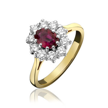 Classical Ruby And Diamond Cluster Ring
