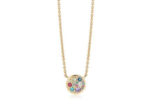 Necklace Novara - 18k Gold Plated With Multicoloured Zirconia