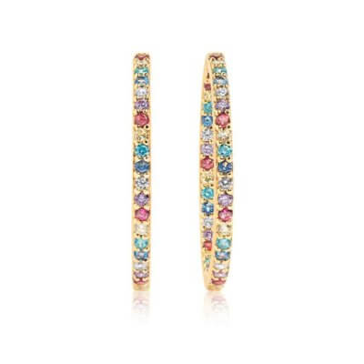 Earrings Bovalino - 18k Gold Plated With Multicoloured Zirconia