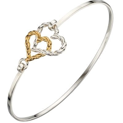 Silver and Rose Gold Plated Heart Bangle