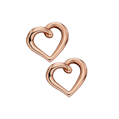 9ct Rose Gold Heart Earrings