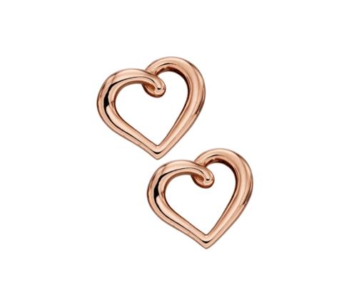 9ct Rose Gold Heart Earrings