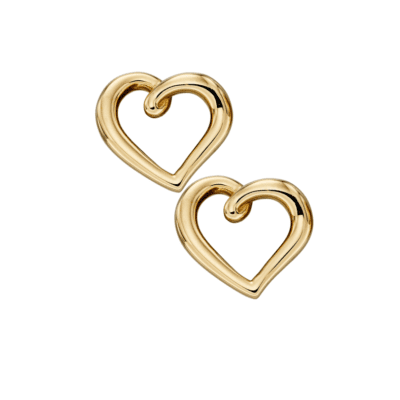 9ct Yellow Gold Heart Earrings Hoppers